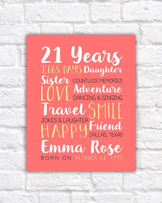 Any Year Birthday 21st Best Friend Gifts