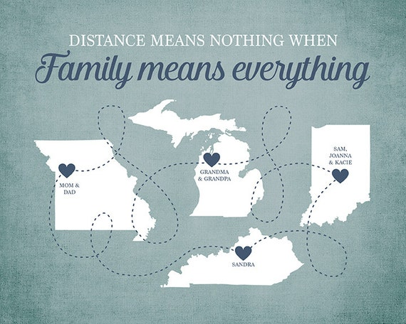 Family Means Everything Quote Long Distance Family Members Etsy