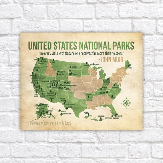 United States Map Of National Parks.National Parks Map Custom Colors United States Map With All Etsy