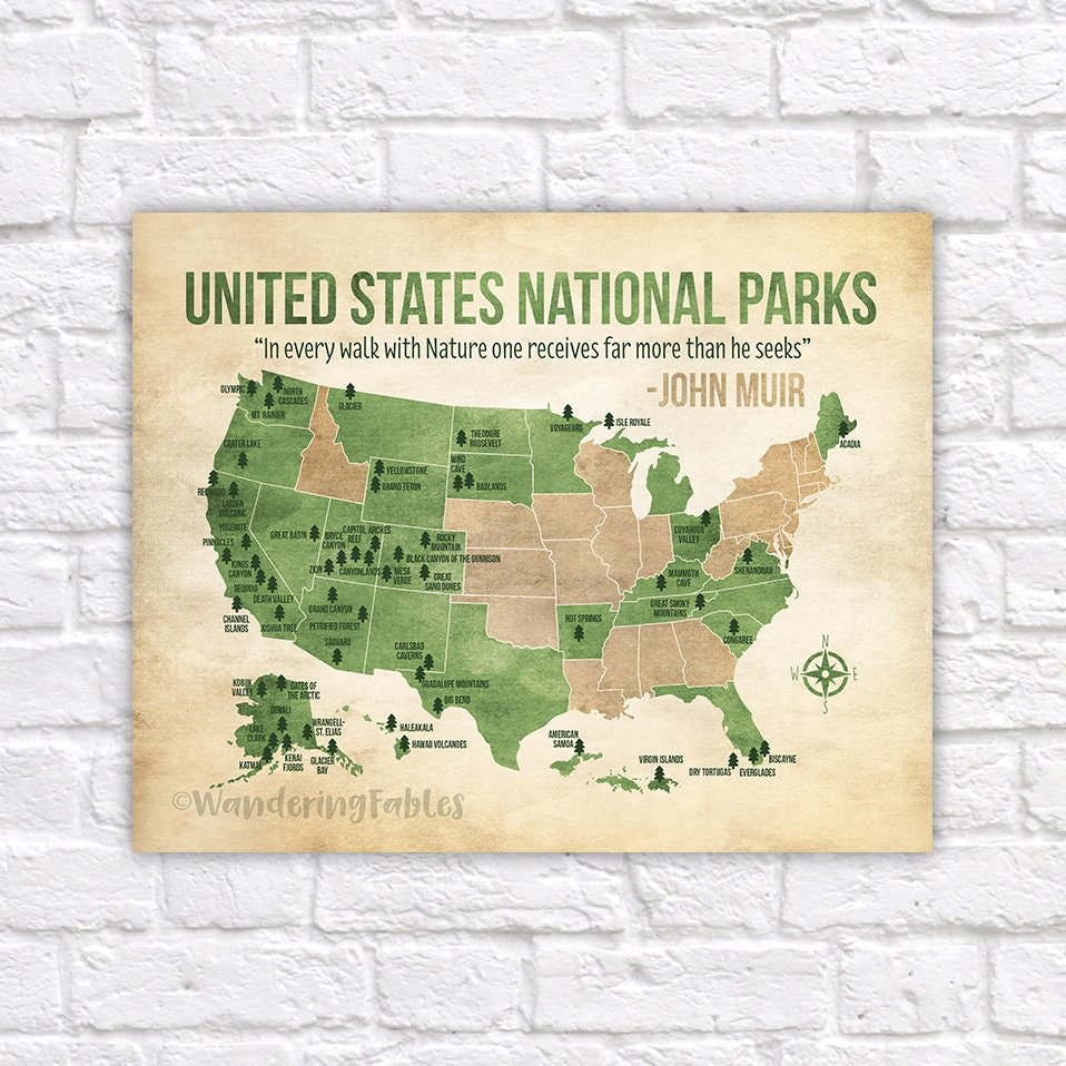 National Parks Map, Custom Colors, United States Map with all ...