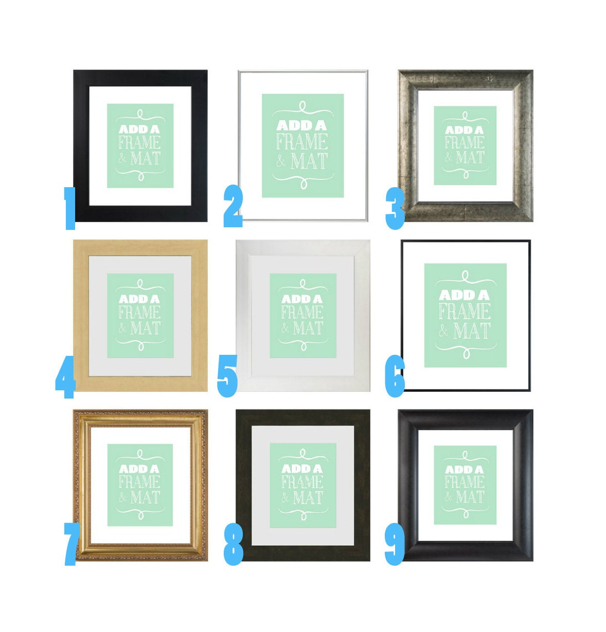 Frame your Custom Print - 11x14 Frame and Mat, Silver, Black and ...