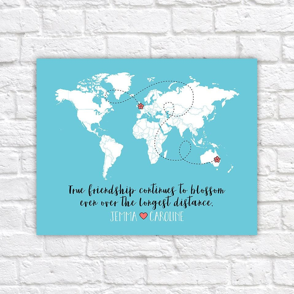 Long distance best friends custom art personalized world map best long distance best friends custom art personalized world map best friend birthday gift peach and mint moving away flowers floral wf78 gumiabroncs Images