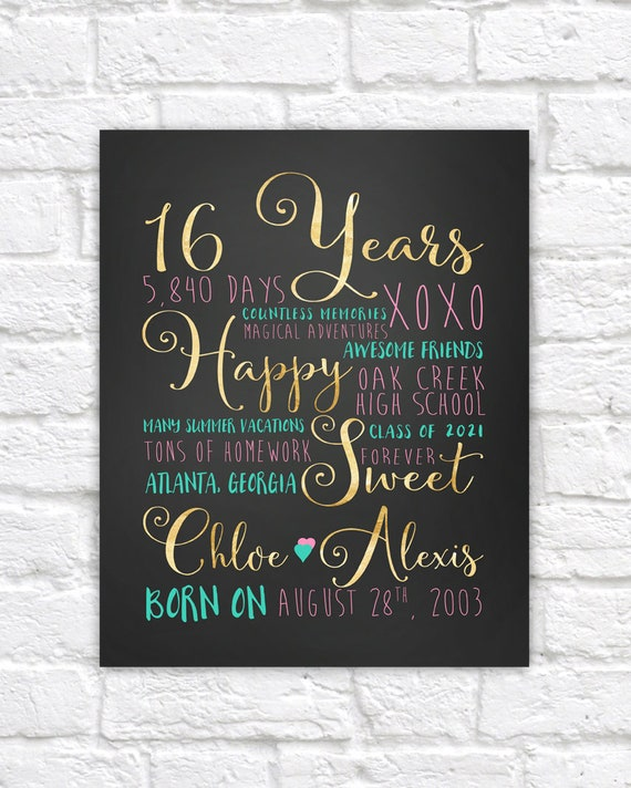 Sweet Sixteen 16th Birthday Gift Gift For Best Friend Daughter 16 Years Old Teen Girl Gifts Teenage Daughter Bedroom Poster Wf445