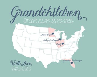 Personalized Gifts for Grandparents and Grandchildren, Long Distance Family, Gift for Parents from Kids, Great Grandma, Grandpa   WF77