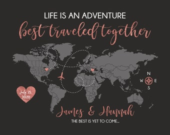 Wedding Gift Travel Map, Custom World Map for Bride and Groom on Wedding Day, Wedding and Honeymoon Locations, Rose Gold Color WF715