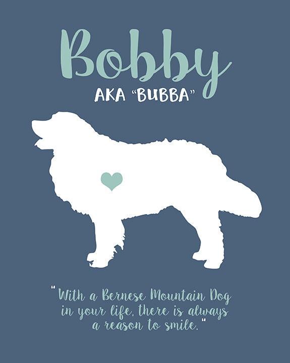 bernese mountain dog print custom pet art dog christmas gift name nickname pet name berner large dog personalized memorial puppy - Christmas Pet Names