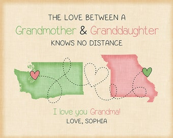 Christmas Gift for Grandma, Grandmother Map Present, Gift from Granddaughter, First Christmas Day, Nana, Long Distance maps, Pastel | WF526