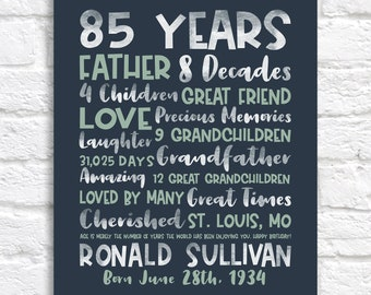 85th Birthday Gift, Personalized Birthday Sign for Men or Women, His Birthday Gift, Grandpa Birthday, Great Grandfather Bday, Dad Gift WF657