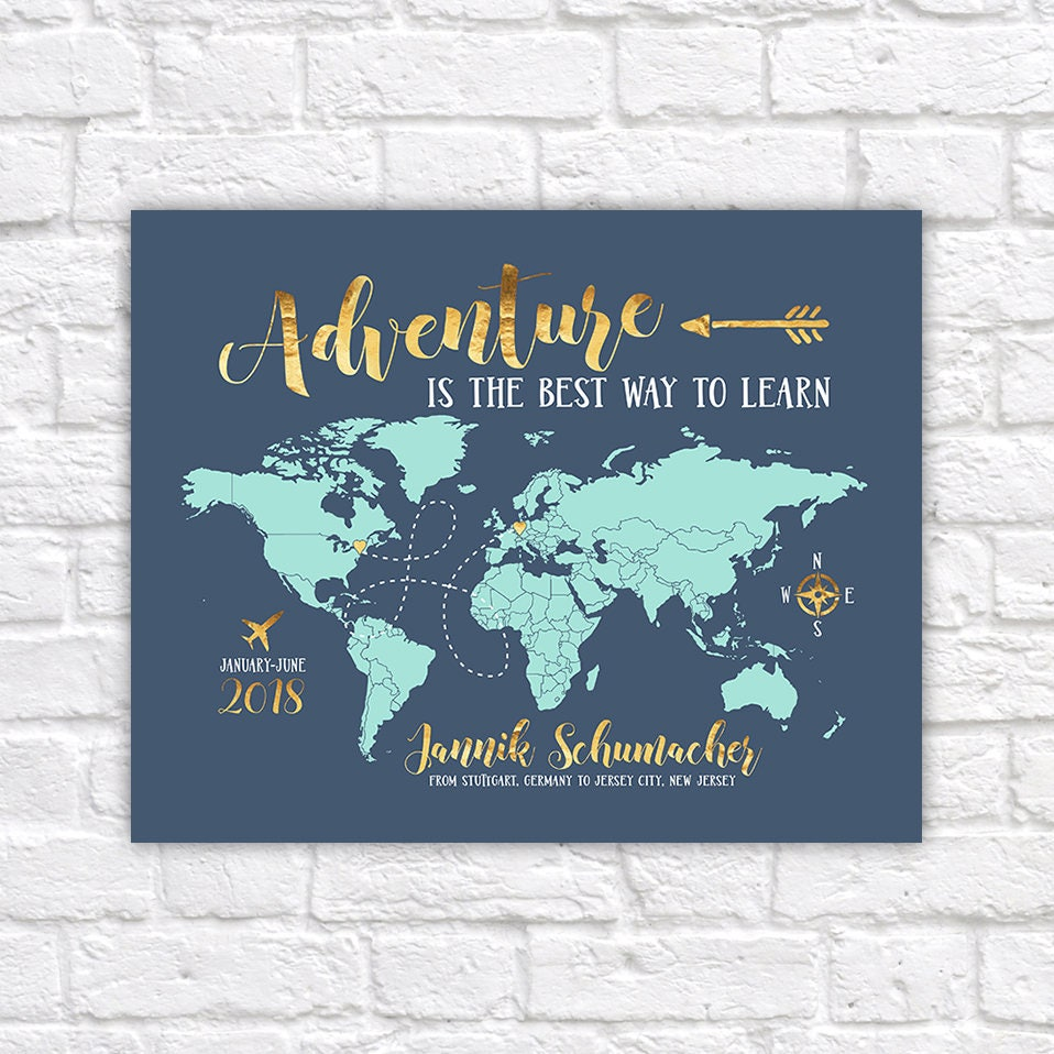 Study abroad map gift for foreign exchange student adventure quote study abroad map gift for foreign exchange student adventure quote studying overseas world map gift hosted student gifts wf601 gumiabroncs Choice Image