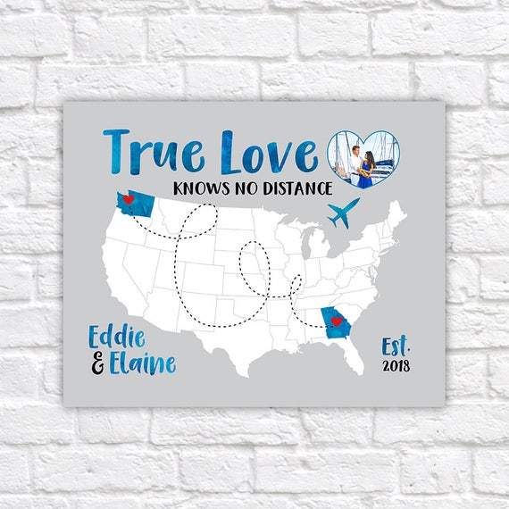 Love Quote Map With Photo Of Couple Personalized Map True Etsy