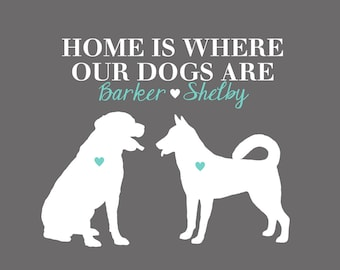Dogs Pets Print, Personalized Pet Decor Art, Pet Silhouettes, Quote, Home is Where our Dogs Are, Custom Gift for Friend, Animal Lover