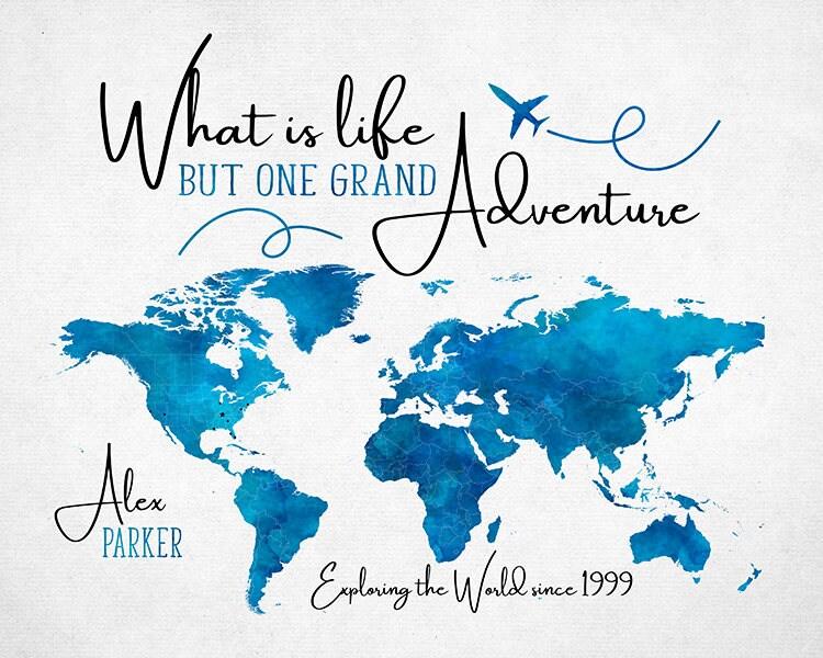 graduation gift world map one grand life adventure travel