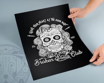 690984938 Broken Souls Sugar Skull Print