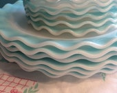 Vintage Hazel Atlas Crinoline Blue 21 Piece Set Dinner Plates Saucers Bowls Cups