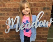 25cm personalised name wall plaque, 25cm tall-letters, toybox sign, flower wall mural, mdf name plaque, girls bedroom decor, Bertilda font