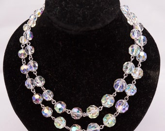 "Lovely 1950's Vintage Crystal beaded 17"" necklace"
