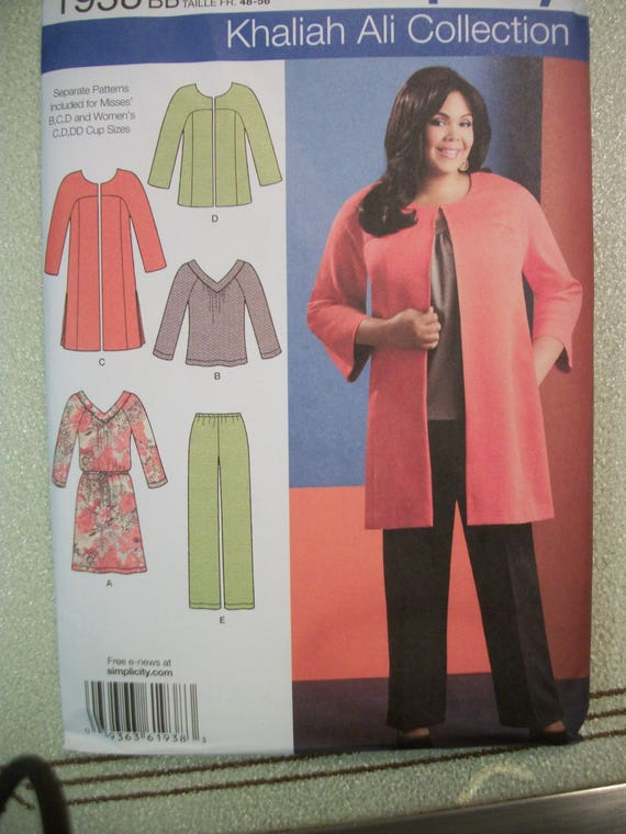 Simplicity Khaliah Ali Collection Pattern 1945 Womens Pants Skirt and Knit Tops and Cardigan Sweater Sizes 20W-28W