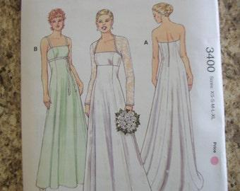 Kwik Sew 3400 Misses (Size XS-S-M-L-XL) gowns and bolero