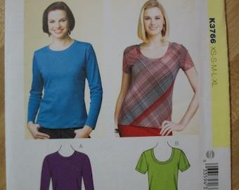 Kwik Sew K3766 Misses (Size XS-S-M-L-XL) Learn-To-Sew tops