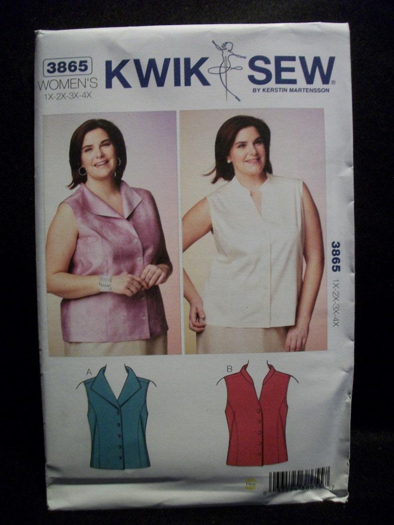1ef9bd76f8ff7 Kwik Sew 3865 Women s Size 1X 2X 3X 4X Blouses