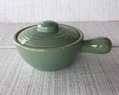 Vintage stoneware crock Soup bowl w handle vintage green pottery bowl brown ware Pottery salt glaze French onion bowl dishes green crock