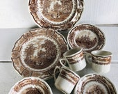 20 piece set of American Brown Ironstone by J G Meakin England dinner plate salad plate bowl cup saucer Brown transferware American History