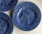 3 Vintage Bordallo Pinheiro Morning Glory BLUE Plate Portuguese pottery portugal plates display plates blue pottery farmhouse Jay Willfred