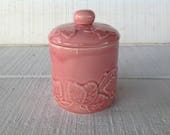 vintage Bordallo Pinheiro Strawberry leaf Pink Canister Portuguese pottery Portugal pottery jar vintage pink smal canister farmhouse