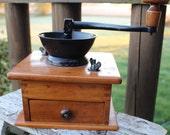 Antique wooden coffee grinder w cast iron crank, spice grinder, vintage french kitchen decor, vintage wooden coffee mill, coffee shop decor