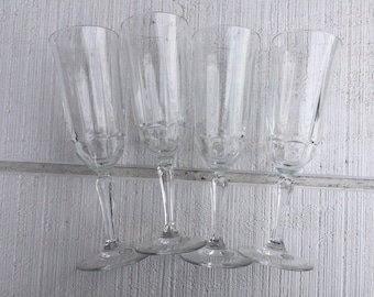 4 Vintage Crystal Champagne Glasses, vintage wedding toasting flutes, crystal champagne glasses, Mimosa glasses, brunch glass CELEBRATE
