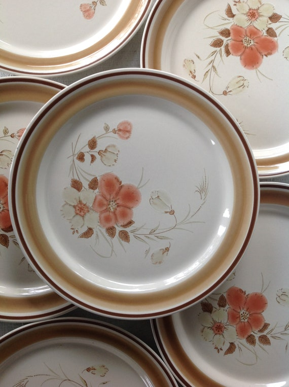 6 Retro Stoneware Dinner Plates Water Colors Blush Hearthside Japan brown band floral peach creme stoneware replacements 1970/'s dinnerware