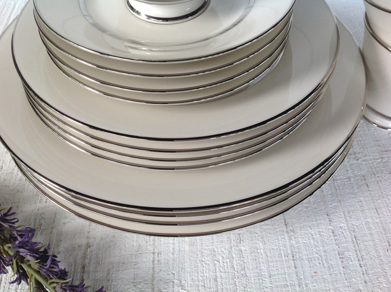 Mid Century Japan China Dinner plate salad plate cup and saucer 16 pc Carico Reflections China White and platinum trim china replacements