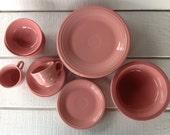 Vintage Fiestaware Rose dinner salad plate bowls cup saucer Homer Laughlin Fiesta Pottery Pink Fiesta ware Pink Rose HLC Pink Fiesta USA