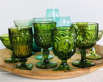 Choose Your Collection Glassware ~ vintage colored goblets glasses for weddings or showers GREEN glasses goblets wine glass water Champagne