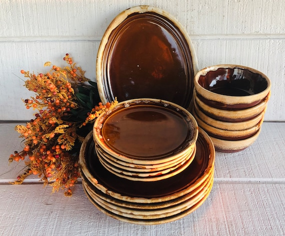 Vintage Western Stoneware brown drip dinnerware brown pottery dishes dinner plate cereal bowl oval platter salad plate Brown cream Western