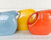 Fiesta ware Large disk pitcher - Fiesta water pitcher 64 oz Persimmon Periwinkle Blue Yellow Fiestaware Fiesta dinnerware Homer Laughlin