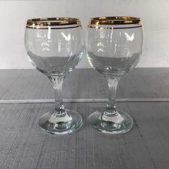 24 carat gold trim Vintage Valencia Stemmed Glasses