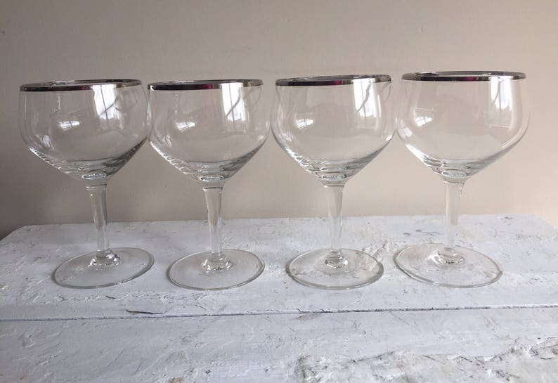 04ad60fec8d9 4 Vintage Silver rim wine glasses platinum rim wine glasses