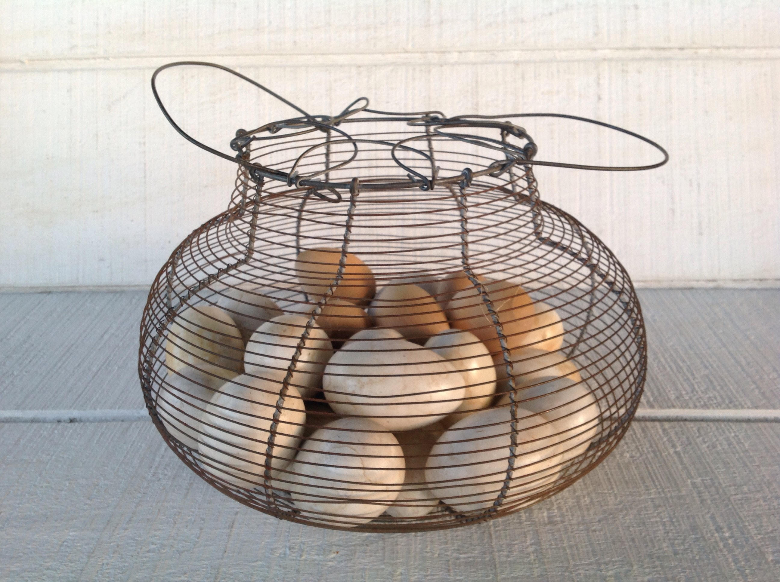 Vintage Round Wire Basket Rustic Industrial Etsy Wiring Old Farmhouse