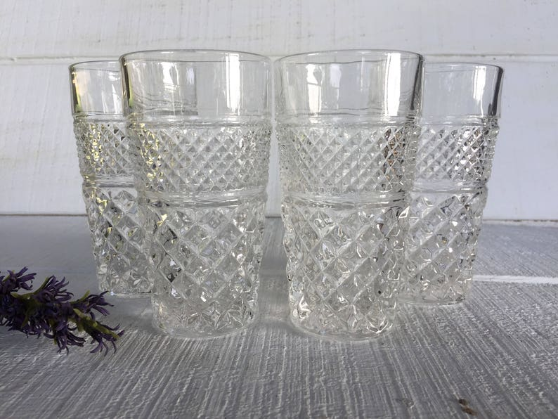 e5911e1412d Vintage Wexford tall flat 10 oz ice tea glasses vintage clear