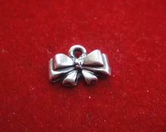 2 PC. 925 Sterling Silver Tiny Bow Charms -silver bow, small tiny little bow pendants