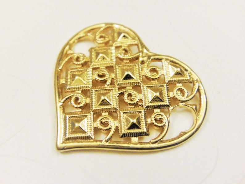 large heart pendant Vermeil,18k gold over 925 sterling silver heart charm or Connector vermeil heart pendant