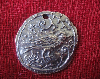925 sterling silver pendant with bird ,oxidized pendant with bird