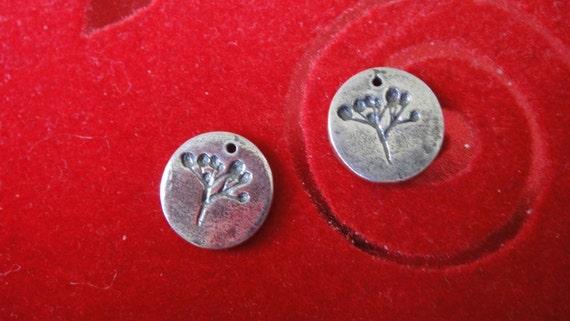 14mm dandelion charm round circle sterling silver charm thick gauge silver disc silver charm 925 Sterling Silver Dandelion Disc