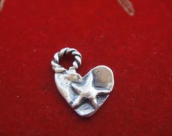 925 sterling silver oxidized heart, silver heart, heart