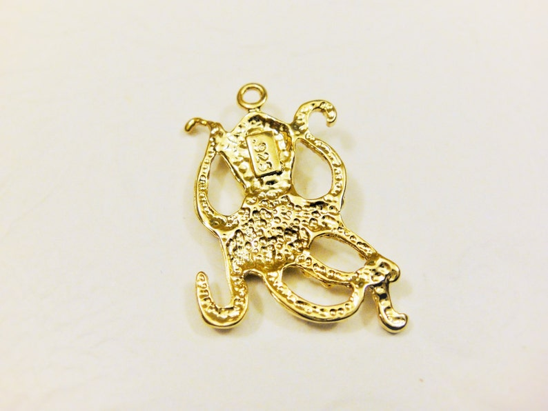 18k gold over 925 sterling silver octopus charm gold octopus vermeil octopus Vermeil octopus