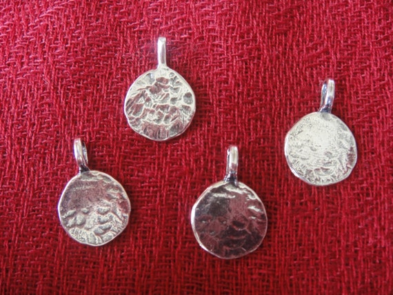 1 pcs 20-22mm Flower Pendant 925 Sterling Silver Hammered Flower Charm