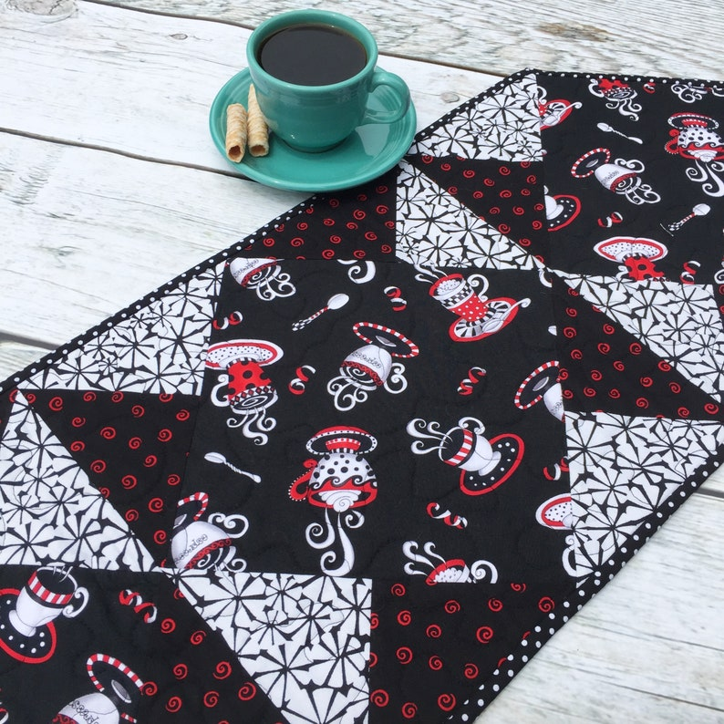 Quilted Table Runners Coffee Table Runner Christmas Gift Coffee Lover Gifts