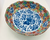 Vintage Japanese Kozan Gama Bowl Blue and White Dragon Floral Center- Great condition 9 3 4 quot