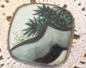 Adorable Cinese Porcelain Trinket or Pill Box Hand Painted Green leaf Square Silver Metal Raised design